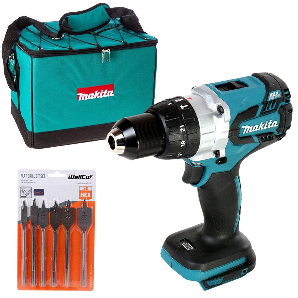 Makita DHP481 18v Brushless Combi Drill With Bag & 6 Piece Flat Drill Bit Set