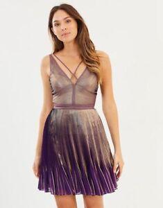 Purple Party Pleated Us Keyhole Gold Dress Millen 42 Metallic Bnwt 10 Karen 14 SwYEqE