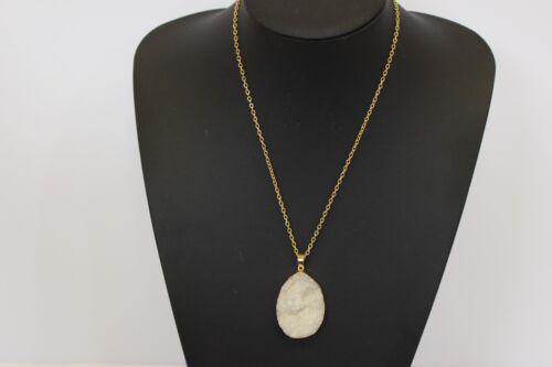 Raw Crystal Druzy Necklace Pendant Agate Slice Quartz Handmade Boho Jewelry