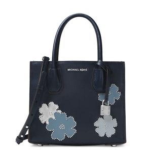 Image is loading MICHAEL-MICHAEL-KORS-FLOWERS-MERCER-MEDIUM-NAVY-LEATHER-