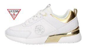Dettagli su Scarpe Guess sneakers alte da donna estive sportive con logo suola alta bianche