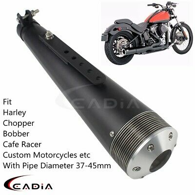 """Black 19/"""" Motorcycle Turnout Silencers Exhaust Custom Chopper Cafe Racer"""