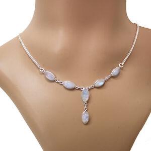 Mondstein-Halskette-Silber-925-Collier-40cm-Kette-Cabochon-Edelsteine-weiss-blau