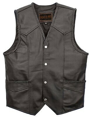 Men/'s Genuine Cowhide Leather Waistcoat Motorcycle Biker Style Black Gillet Vest