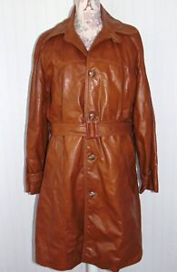 a9dcd0c30 Details about Men's Brown Vintage 70's GENUINE LEATHER Belted Trench Coat  Jacket size 40