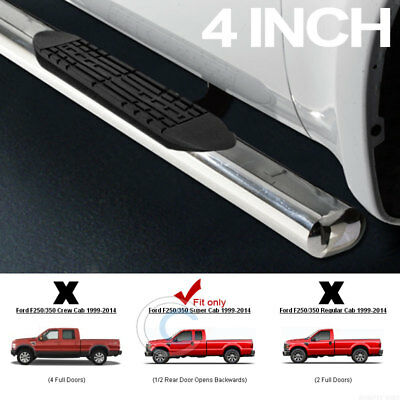 "For 1999-2016 F250//F350 SD Crew Cab 4/"" Chrome Side Step Nerf Bars Running Boards"
