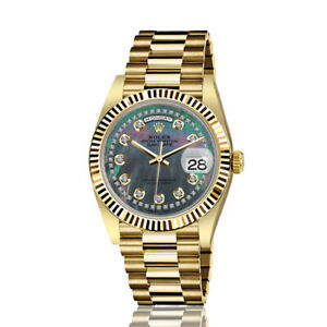 Rolex-36mm-Presidential-18kt-Gold-Black-MOP-Mother-of-Pearl-String-Diamond-Accen