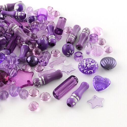 1665 50g Acryl Chaostüte Perlen Zubehör Basteln lila verschiedene