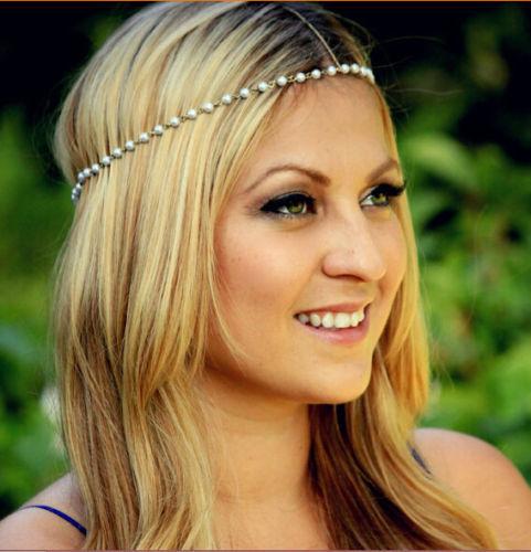 Bohemian Crown Wedding Pearl bead Charm Head Chain Jewelry Headpiece Hair Band