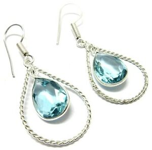 Blue-Topaz-Faceted-Quartz-925-Silver-Plated-Nice-Earring