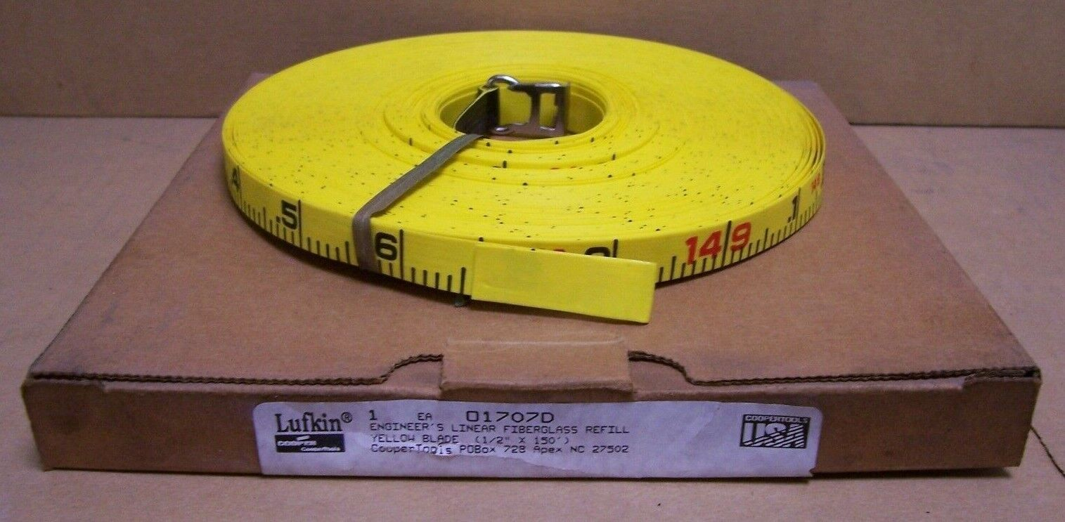 LUFKIN 1 2  x 150' Linear Fiberglass Engineer's Tape Refill O1707D Yellow 45469