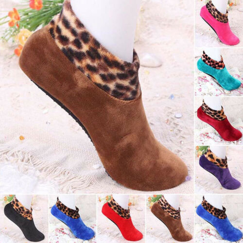 Details about  /Indoor Slippers Floor Socks Shoes Leopard Thicken Winter Thermal Non Slip
