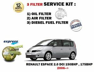 Details about FOR RENAULT ESPACE 2 0 DCi MARK 4 2006->NEW OIL AIR FUEL 3  FILTER SERVICE KIT