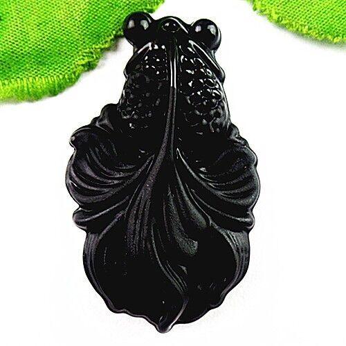 BC10012 53x32x13mm Beautiful Black Jade carved goldfish Pendant bead