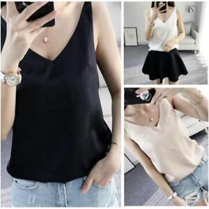 dfe243bb9d Women Satin Silk Cami Strappy T-shirt Ladies V Neck Sleeveless Top ...