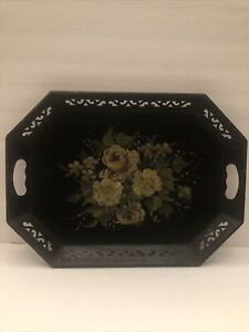 "Vtg.Tole Black Serving Tray With Flowers Pilgrim Art 18 1/4""x 13 1/4"""