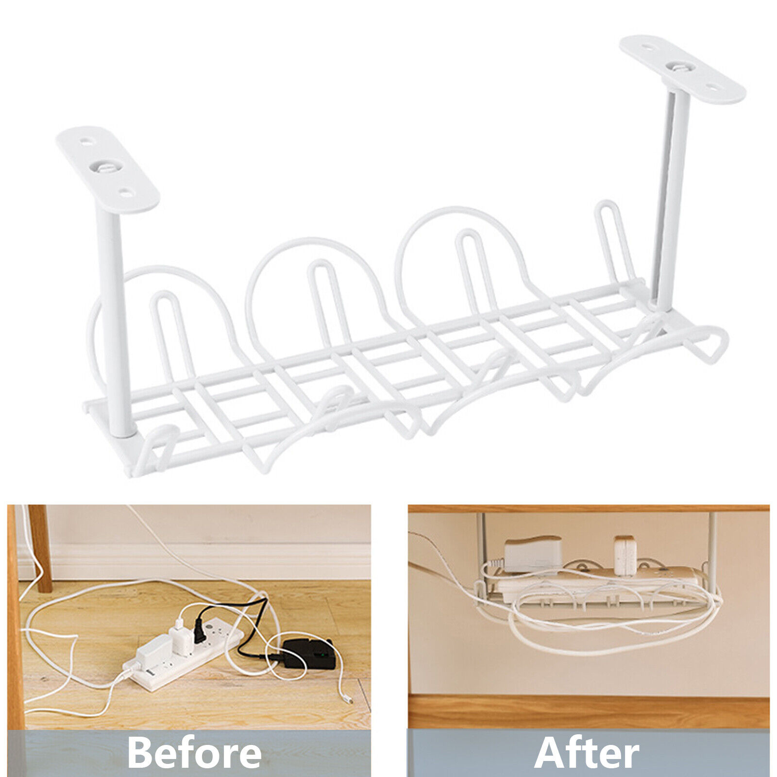 ABS Under Desk Cable Management Tray Storage Organizer Cord Chargers Wire Power