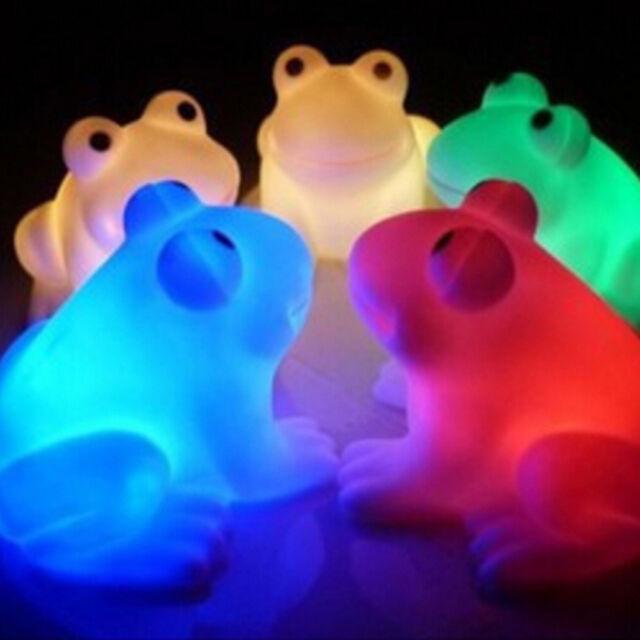 Cute magic led night lights frog shape colorful changing lamp room bar decorTY