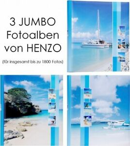 HENZO 3er Set Jumbo Fotoalbum f.bis zu 1800 Urlaubsalbum Fotos Album Fotobuch