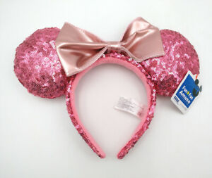 Disney-Parks-Minnie-Mouse-Ears-Cute-Mickey-Party-Pink-Bow-Sequins-Cos-Headband