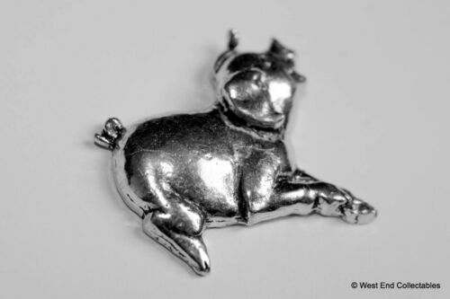 Piglet Sty Farming British Hand Crafted Happy Smiling Pig Pewter Pin Brooch