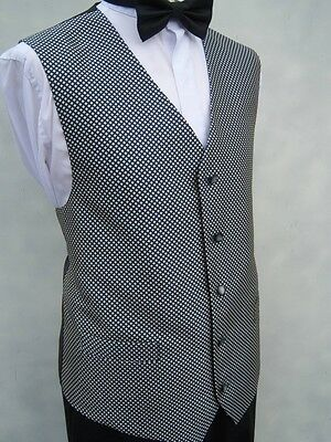 £10 NAVY & WHITE CHECK WAITERS HOTEL RESTAURANT STAFF UNIFORM WAISTCOAT S M L X