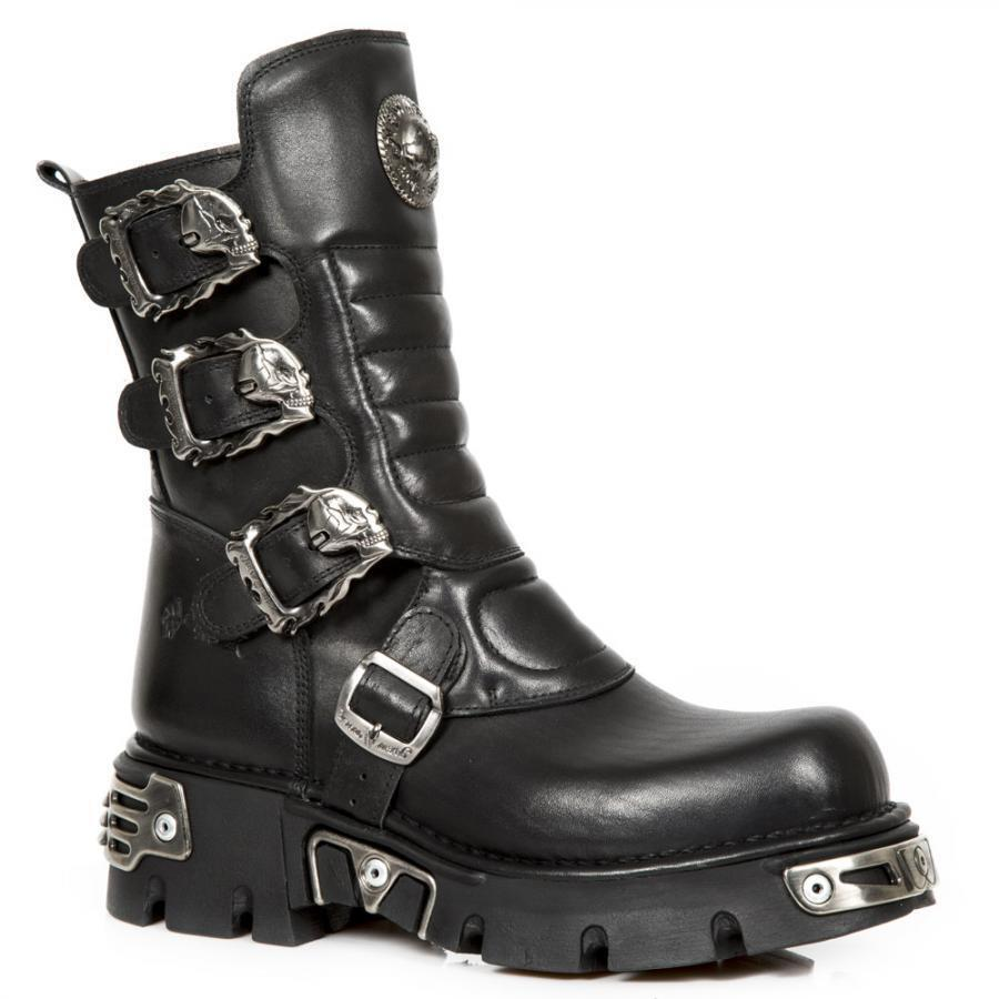 Boot leather NEW ROCK Black Black leather boot Unisex