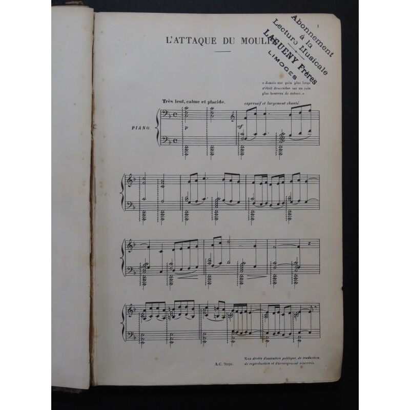 BRUNEAU Alf rojo  L'Attaque du Moulin Opéra Opéra Moulin Chant Piano 1898 partition sheet music 1831d4