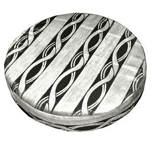 mq04r Ash Grey Wave Stripe Silver Metallic Black 3DRound Seat Cushion Cover Case