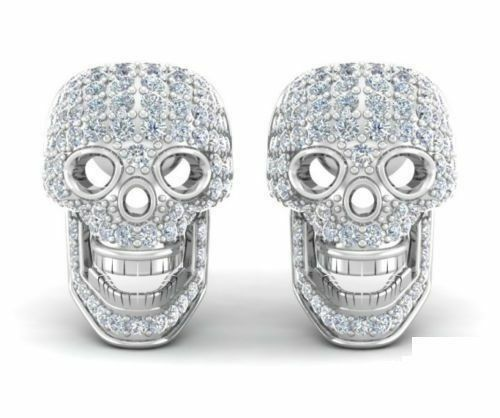 Jewelry & Watches 1.10 Ct Cool 3d Skull Designed White Diamond 14k White Gold Over Stud Earrings Online Shop