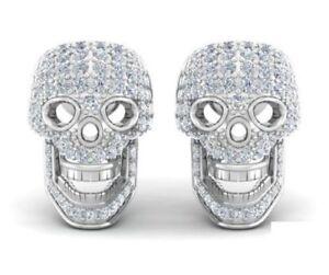 1 10 Ct Cool 3d Skull Designed White Diamond In 14k White Gold Stud Earrings Ebay