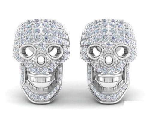 1.10 CT Cool 3D Crâne conçu Blanc Diamant en 14K or Blanc Boucles D/'oreilles Clou