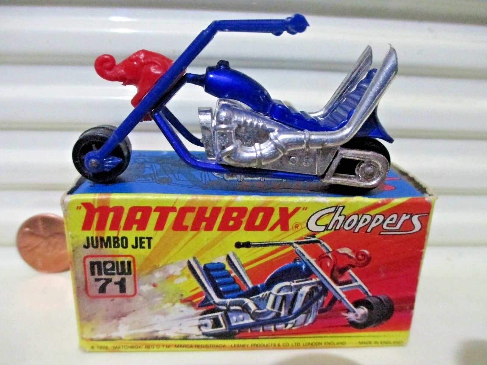 Lesney Matchbox 1972 MB71B JUMBO JET Motorcycle Excellent Condition in Mint Box