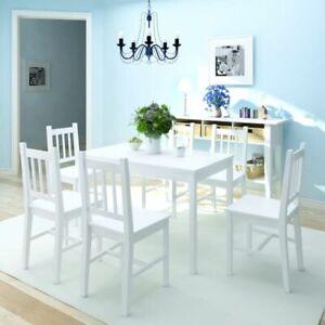 Tavolo Cucina Bianco Legno.Dettagli Su Vidaxl Legno Di Pino Set Da Pranzo 7 Pz Sala Cucina Bianco Tavolo E Sedie