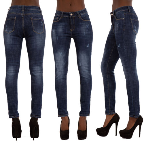Womens Ripped Jeans Ladies Blue Stretchy Slim Fit Denim Pants Size 6 8 10 12 14