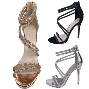 c205f2d76d4 Image is loading Women-Rhinestones-Evening-Prom-Party-Wedding-Platform -Black-