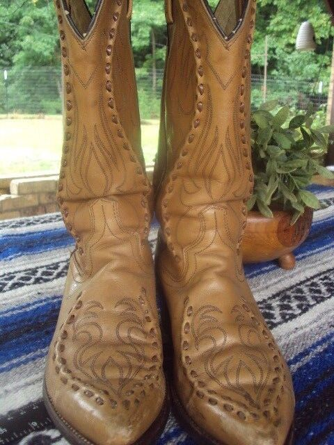 VTG DAN POST PHOENIX BUCKLACE Größe 7.5 D Western Cowboy Deertan Walnut Stiefel