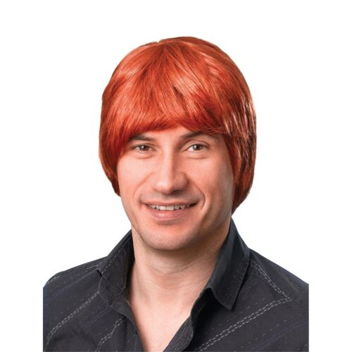 60/'s BOYBAND SHORT MALE GINGER WIG 1990s Adults Mens Fancy Dress Costume