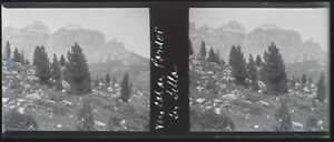 Italia Montagne Col Pordoi 1937 Negativo Foto Stereo Placca Da Lente VR12nd