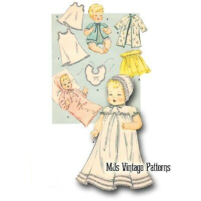 """Vtg 1950s Doll Clothes Pattern ~ 13/"""" 14/"""" Tiny Tears Dy Dee Betsy Wetsy"""