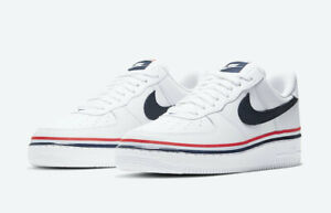 Nike-Air-Force-1-07-LV8-USA-AMERICANA-Ribbon-White-Red-Blue-CJ1377-100-Size-4-14