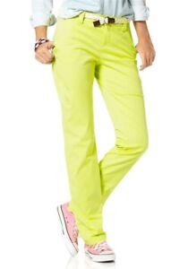 Flg-Donna-Pantaloni-Chino-Incl-Cintura-Elasticizzato-Giallo-Neon-477376