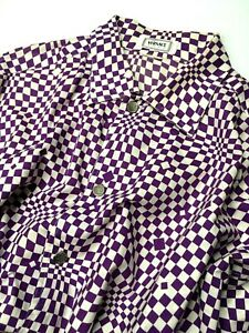 GIANNI-VERSACE-VINTAGE-039-94-PRINTED-SHIRT-MEN-OPTICAL-CHECKS-GRIDS-PURPLE-ITALY