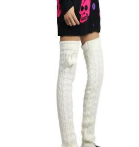 d083a8e5eea Women s Knitted Leg Warmers Knee High Pom Pom Dance Thigh highs ...