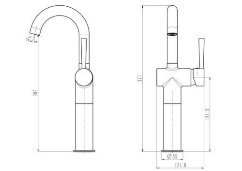 Schütte Design-Waschtischarmatur CORNWALL hohe Ausführung Wasserhahn Chrom