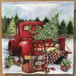 Red Christmas Truck.Details About 1 Single Decoupage Craft Napkin Red Christmas Truck Puppy Dogs Luncheon Size