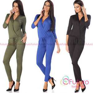 d041ad8ff41f Image is loading Womens-Sexy-Jumpsuit-With-Pockets-Evening-Wrap-Playsuit-