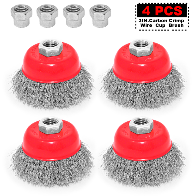 5 Inch Set of 3 Pieces Knotted Wire Cup Brush carbon steel with 5//8-11 Thread