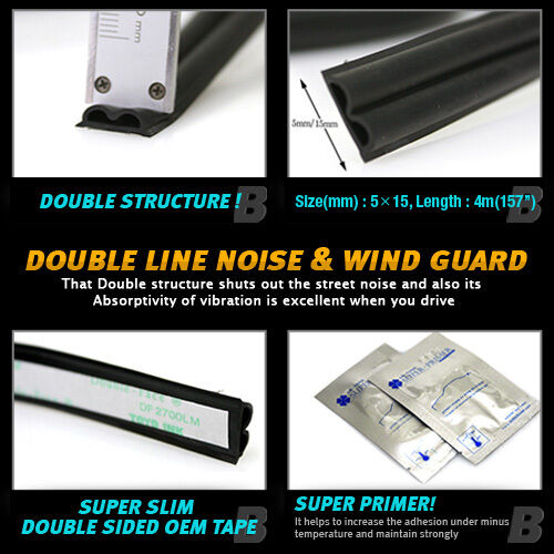 Car Door Auto Noise Guard Rubber Wind Seal Strip Molding 1ea B type For NISSAN