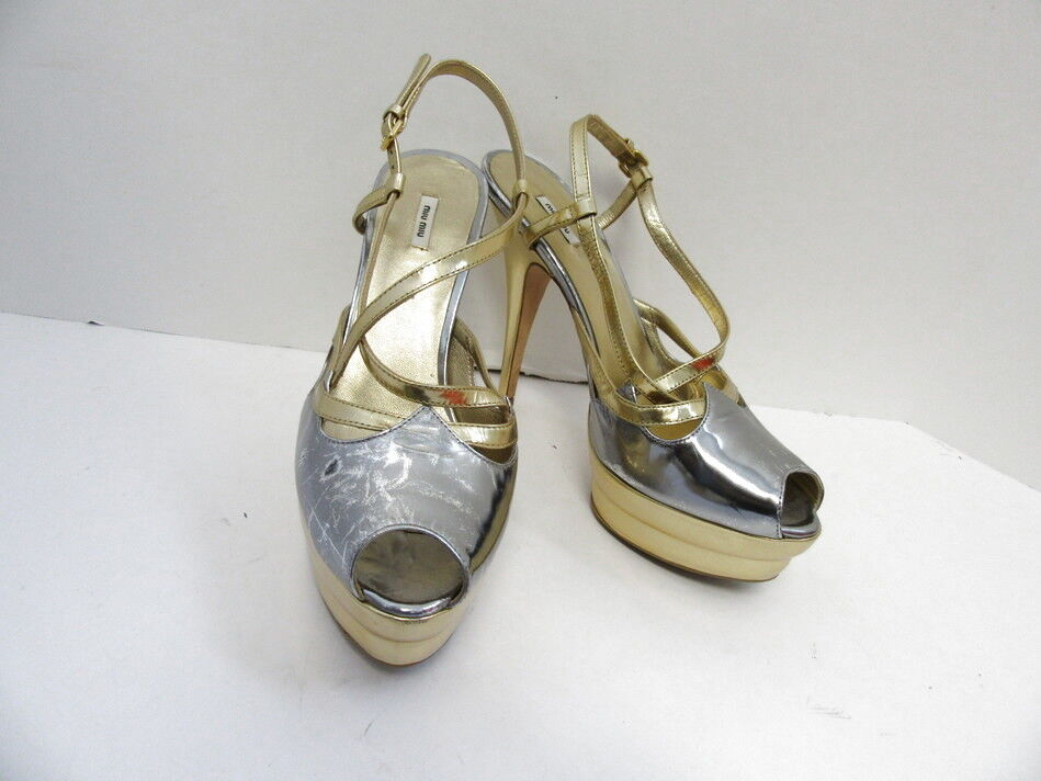 Miu Miu Miu MIU Cuero oro Plata Metálico Peep Toe Platform Zapatos 37.5  Descuento del 70% barato